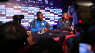Wes Morgan takes questions from the media