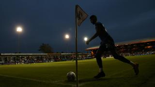 Mahrez takes a corner at Kenilworth Road