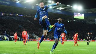 Jamie Vardy celebrates against Liverpool