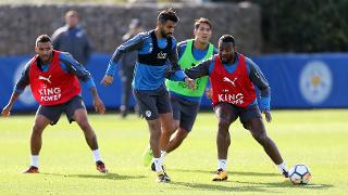 Wes Morgan with Riyad Mahrez