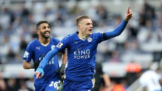 Jamie Vardy celebrates against Newcastle