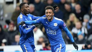 Demarai Gray celebrates after scoring at St James' Park