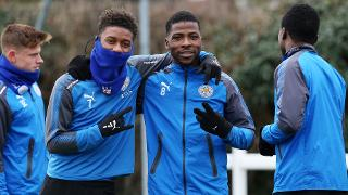 Demarai Gray with Kelechi Ihenacho
