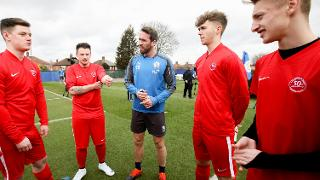 Christian Fuchs gives advice to young players from Aylestone Park