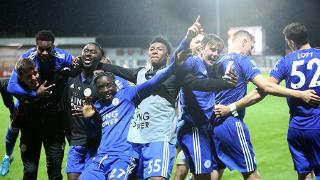 Leicester City U23's celebrate penalty shoot out