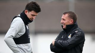 Harry Maguire with Brendan Rodgers